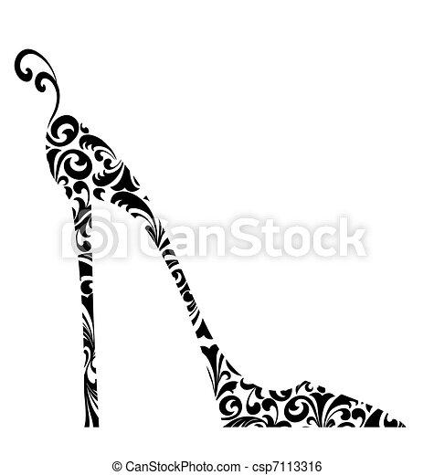 armé, damassé, élevé, retro, chic, chaussure - csp7113316