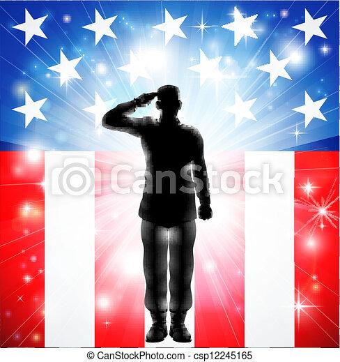 armé, nous, saluer, forces, drapeau, militaire, soldat, silhouette - csp12245165