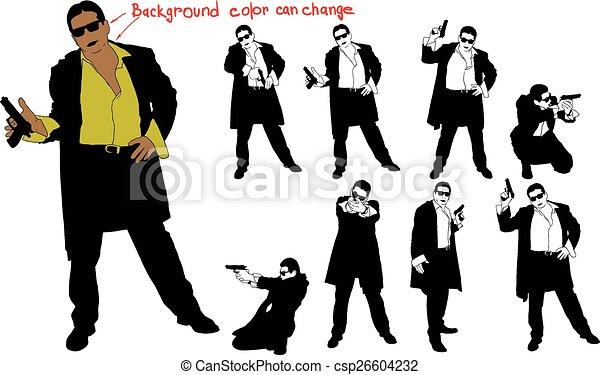 armé, silhouette, homme - csp26604232