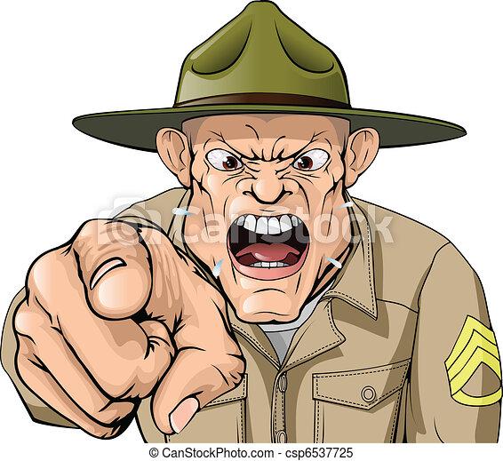 armée, fâché, cris, sergent, foret, dessin animé - csp6537725
