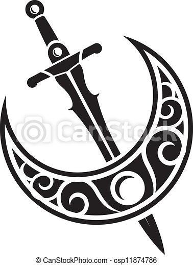 arma, antico, disegno, spada - csp11874786
