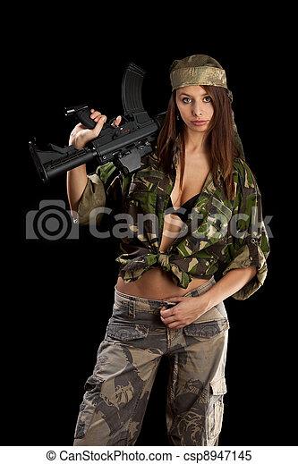 arma, bonito, segurando, mulher - csp8947145