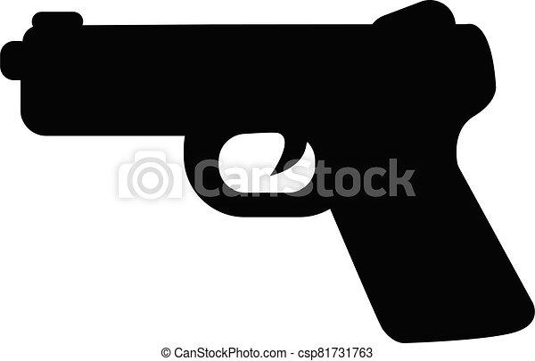 arma de fuego, signo., su, icono, pistola, logotipo, ui., app, fondo., plano, símbolo., equipo, style., diseño, tela, militar, blanco, sitio, arma - csp81731763