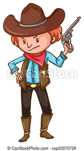 Un vaquero con un arma - csp23070726