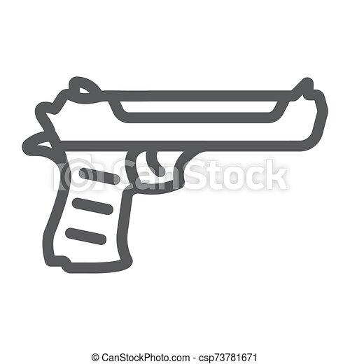 arma, lineal, patrón, pistola, águila, fondo., arma de fuego, vector, blanco, desierto, icono, ejército, línea, gráficos, señal - csp73781671