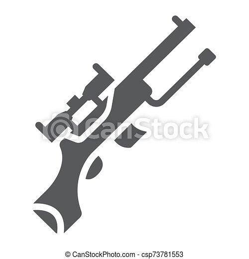 arma, máquina, patrón, francotirador, militar, sólido, automático, fondo., arma de fuego, vector, blanco, icono, glyph, gráficos, señal - csp73781553