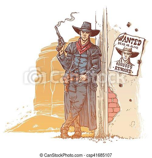 Un ladrón con una pistola humeante - csp41685107