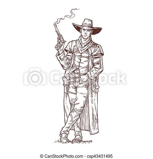 Un ladrón con una pistola humeante - csp43431495