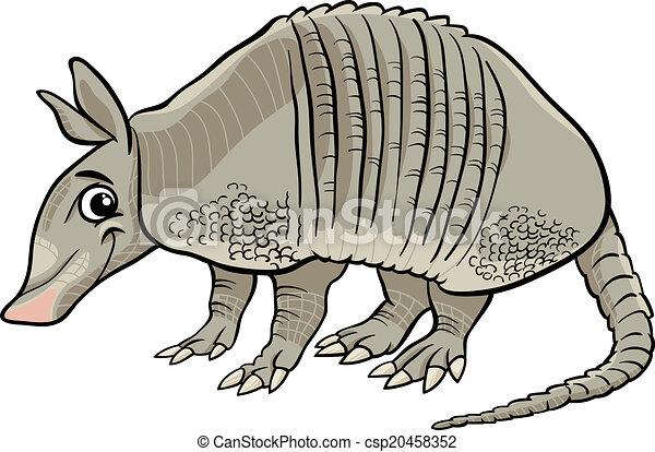 armadillo animal cartoon illustration - csp20458352