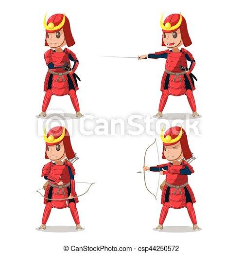 Armadura, carácter, samurai, vector, japón, rojo.