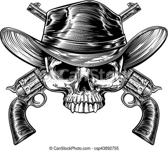Vaquero Skull y armas - csp43892755