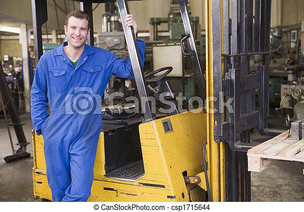armazém, ficar, forklift, trabalhador - csp1715644