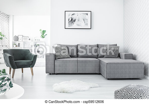 Armchair and corner sofa