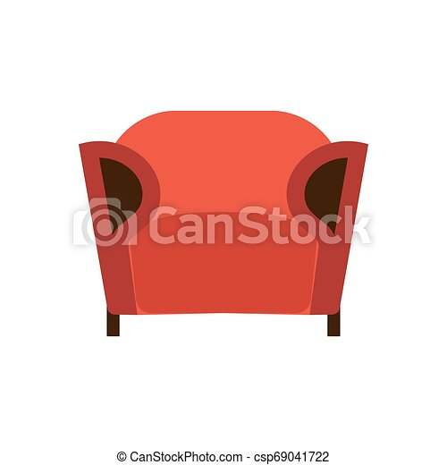 Armchair front view furniture vector icon illustration isolated. Modern interior comfortable home seat relax flat element - csp69041722