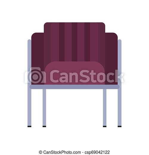 Armchair front view furniture vector icon illustration isolated. Modern interior comfortable home seat relax flat element - csp69042122