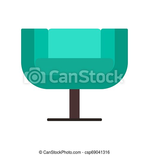 Armchair front view furniture vector icon illustration isolated. Modern interior comfortable home seat relax flat element - csp69041316