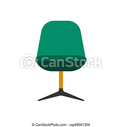 Armchair front view furniture vector icon illustration isolated. Modern interior comfortable home seat relax flat element - csp69041304