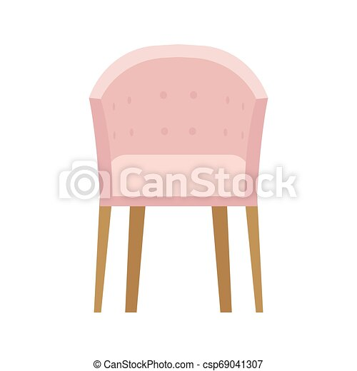 Armchair front view furniture vector icon illustration isolated. Modern interior comfortable home seat relax flat element - csp69041307