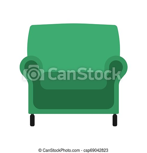 Armchair front view vector illustration interior furniture. Isolated rliving room cartoon icon. Flat indoor simple sit - csp69042823