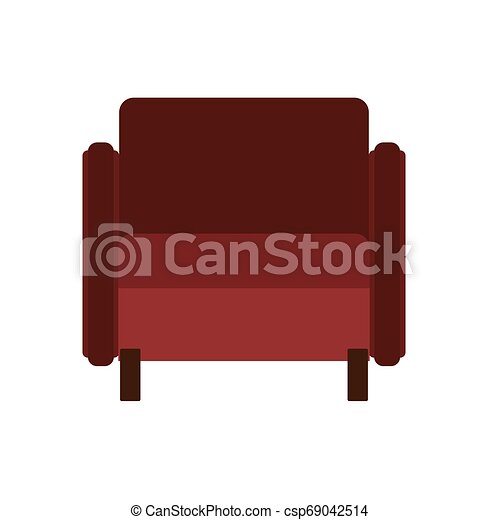 Armchair front view vector illustration interior furniture. Isolated rliving room cartoon icon. Flat indoor simple sit - csp69042514