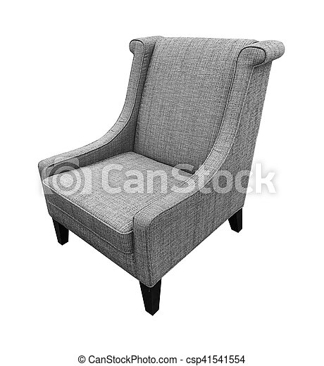 Armchair isolated on white background. Gray color - csp41541554