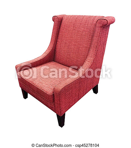 Armchair isolated on white background. Red color - csp45278104