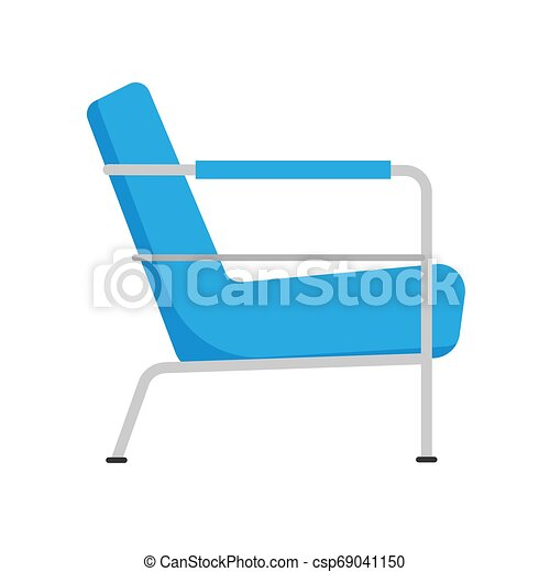 Armchair side view furniture vector icon illustration isolated. Modern interior comfortable home seat relax flat element - csp69041150