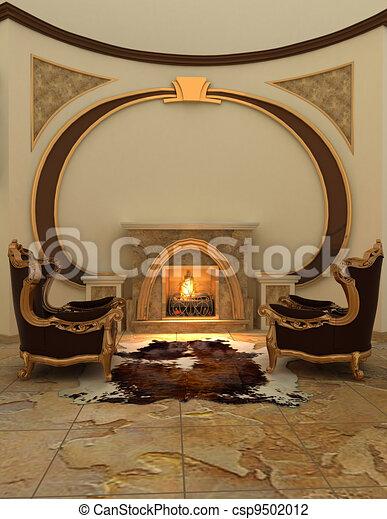 Armchairs near fireplace in modern interior. Warm - csp9502012