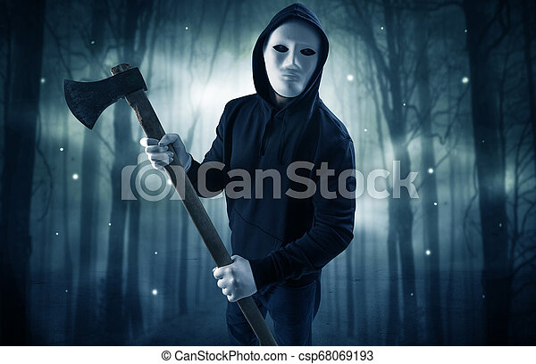 Armed Hitman In Dark Nocturnal Forest Concept Masked Armed Hitman In Dark Thick Forest With Foggy Mysterious Concept