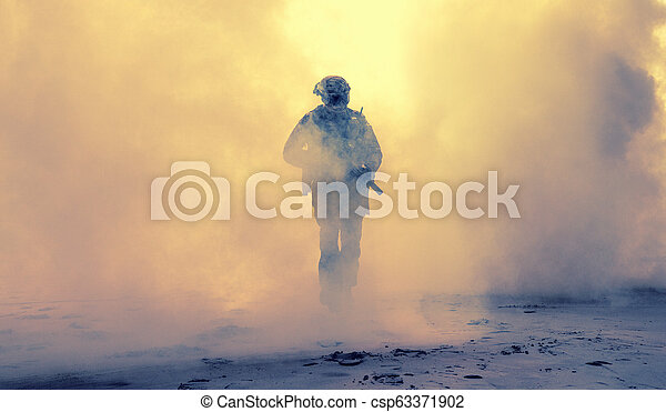Armed infantry in smoke during military operation - csp63371902