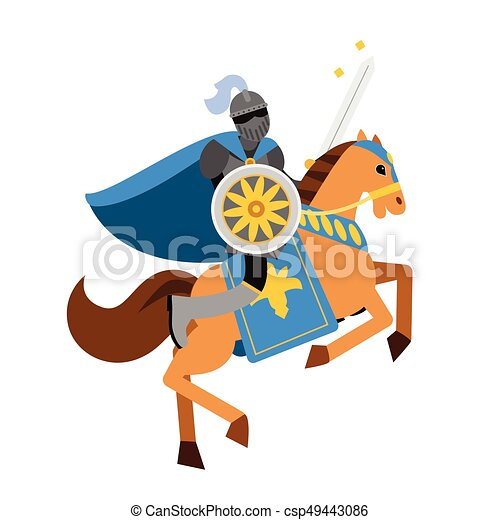 Armed knight riding horse medieval character, colorful vector Illustration - csp49443086