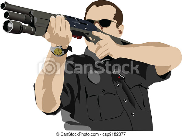 Armed policeman preparing to shoot - csp9182377