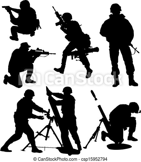 Armed Soldier Silhouette - csp15952794