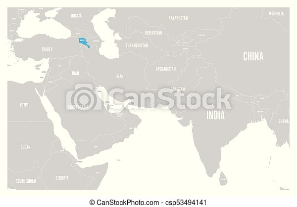 Armenia blue marked in political map of South Asia and eps