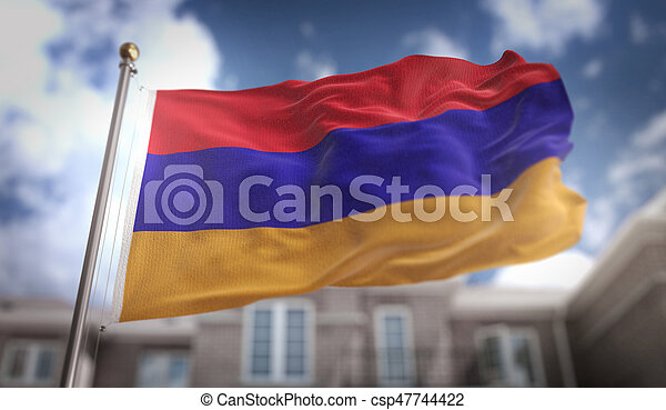 Armenia Flag 3D Rendering on Blue Sky Building Background - csp47744422