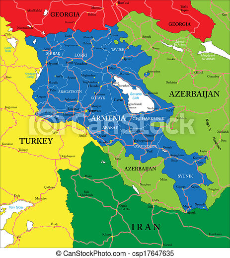 Armenia map Highly detailed vector map of armenia with vectors