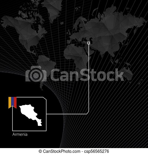 Armenia on black world map map and flag of armenia vectors armenia on black world map map and flag of armenia csp56565276 gumiabroncs Gallery