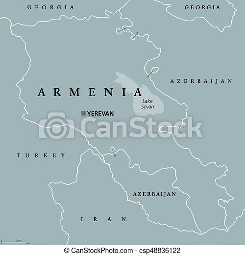 Armenia political map with capital Yerevan Republic and vector