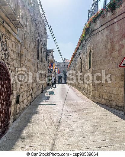 Armenian quarter street in Jerisalem Old city - csp90539664