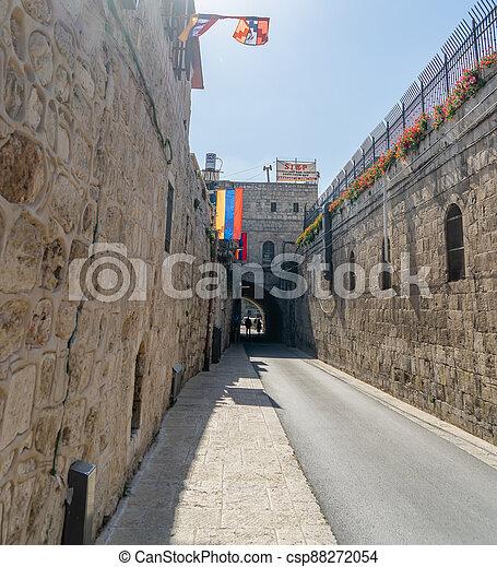 Armenian quarter street in Jerisalem Old city - csp88272054