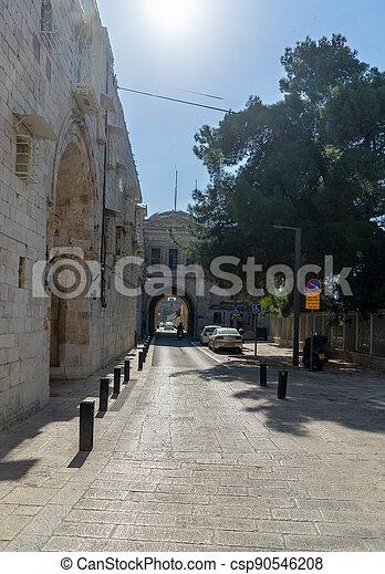 Armenian quarter street in Jerisalem Old city - csp90546208