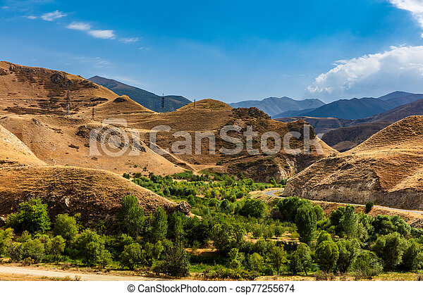 armenien, vorotan, landschaftsbild, bereich, landschaftlich, syunik, grenzstein - csp77255674
