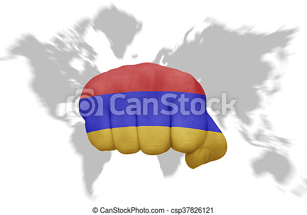 Fist Mit Der Nationalen Flagge Von Armenia Auf Einer Weltkarte Hintergrund