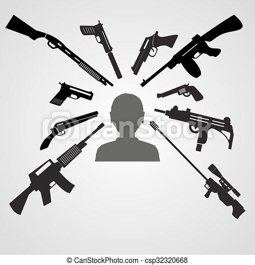 armes, tête, eps10, but, armes feu, homme - csp32320668