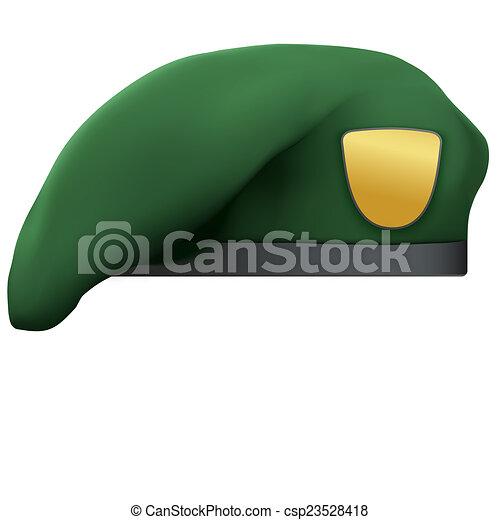 armia, beret, zielony, wojska, wojskowy, szczególny - csp23528418