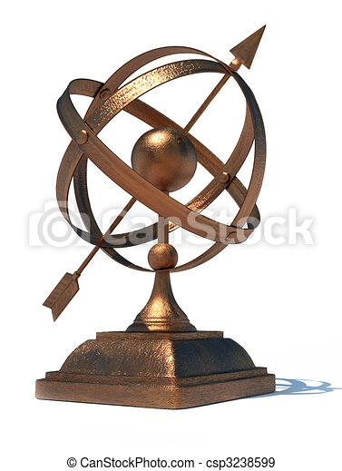Armillary sphere. 3d render illustration of conceptual ...