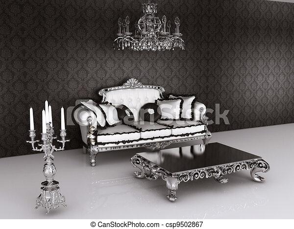 Konigliche Mobel Im Barocken Interieur Sofa Mit Kissen Und Tisch