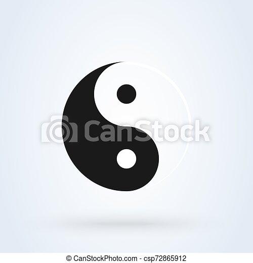 armonía, balance, vector, yang, ying, símbolo - csp72865912