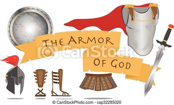 Armor of God Christianity Warrior Jesus Christ Spirit Sign Vector Illustration - csp32285020