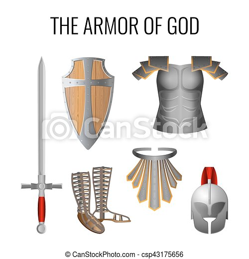 Armor of God elements set isolated on white. Vector - csp43175656